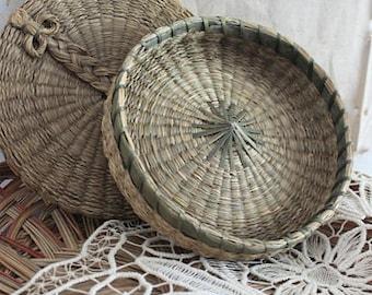 Vintage Lidded Sweet Grass Basket