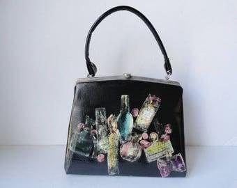 Vintage OOAK Black Top Handle Handbag 1960s Black Decoupage Patent Leather Handbag Perfume Scene Black OOAK Purse Camelot Vintage handbag