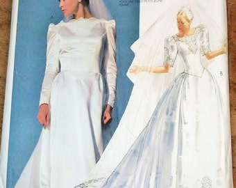 Vintage 1980s Priscilla Sewing Pattern McCall's 2343 Wedding Bridal Dress Train Womens Misses Size 8 10 12 Bust 31 32 34 Uncut Factory Folds
