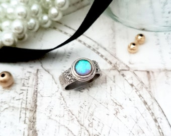Opal Ring Silver - PMC Jewelry, Silver Ring, PMC Ring, Band Ring