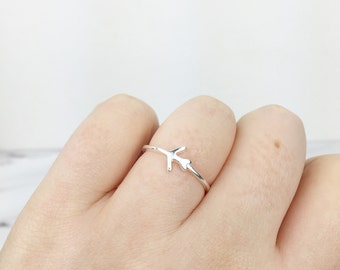 Sterling Silver Plane Airplane Ring - Wanderlust Travel Aviation Fly Jewellery