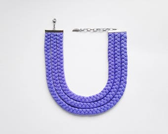 Choker, tribal necklace, boho necklace, lilac choker, summer choker - The triple braid necklace - handmade in lilac fabric