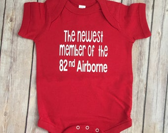 military baby shirt, Army baby outfit, 82nd airborne shirt, military crest gift, baby gift FRG , newest Army baby, military baby gift,