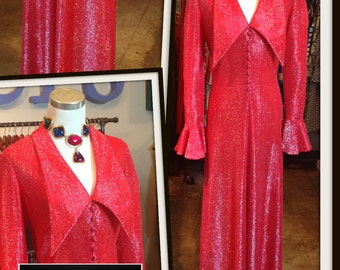 Vintage Red Metallic Maxi Long Dress FREE SHIPPING