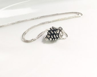 Large Pine Cone Necklace Sterling Silver Pinecone Charm Silver Pine Tree Pendant Woodland Charm 3D