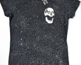 Galactic Women's Skull Tshirt, Fitted Ladies Skull Tee, Skull T-shirts For Women, Space Tshirt