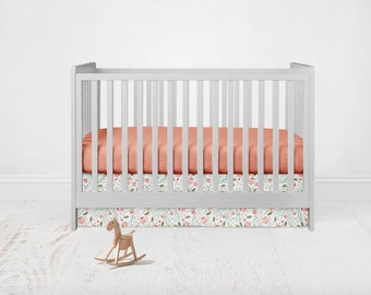 Floral Coral Bedding Set. Baby Bedding. Floral Bedding. Coral Baby Bedding. Coral Crib Sheet. 2 Piece Set - Fitted Crib Sheet, Crib Skirt.