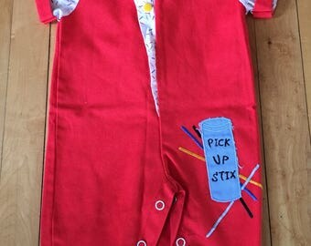 Vintage 1980s Baby Infant Boys Pick Up Stix One Piece Romper Outfit! Size 0-6 months