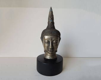 Buddha Head  Silver Plated Brass on Wooden Pedestal