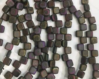 6 mm Two Hole Flat Square Tile Bead -Matte Black Iris Nautilus - Laser Etched - 25 Pieces