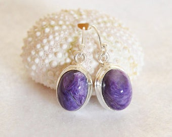 Charoite earrings~sterling silver~gift for her under 50~fall jewelry trends~purple gemstone~birthday gifts for mom~presents for wife