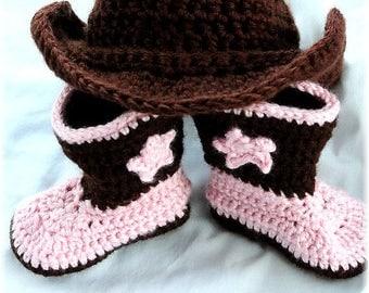 Hand Crochet Baby Boot Scootin' Cowboy Cowgirl Hat Newborn-4T