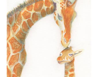 Giraffe and baby - A5 Print