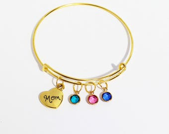 Mothers Day Gift, Mothers Day Gift from Daughter, Gold Birthstone Bracelet, Mom Jewelry, Gift for Mom Birthday, Personalized Family Bracelet
