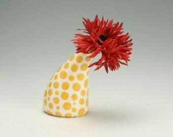 Golden Sunflower Yellow Small Ceramic Vase, Office Desk Accessories, Modern Pottery Flower Vase, Polka Dot Bud Vase, Hand Painted Urban Vase