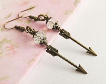 Arrow earrings, long dangle earrings, arrow jewelry, gift for her, rustic bronze jewelry