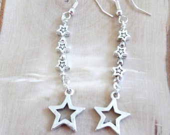 Star Earrings, Dangle Earrings, Beaded Earrings,Drop Earrings, Wicca Earrings, Sterling Silver Earrings, Gifts for Her, Made in America