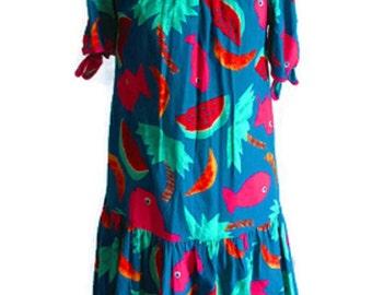 Muumuu Maternity or House Dress, Retro Hawaiian Tropical Print, Fish, Watermelon, and Palm Trees, MADE IN USA, Vintage 70s, 100% Cotton