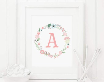 Floral Nursery Initial Printable Letter A Personalized Nursery Wall Art Pink Floral Wreath Pink Nursery Monogram Nursery Letters Aqua 259