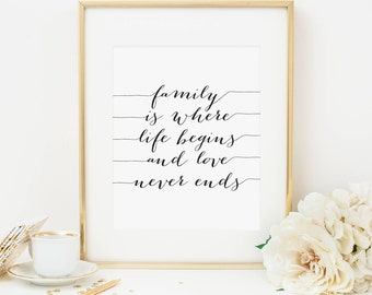 Family Is Where Life Begins And Love Never Ends Printable Family Quote Prints Positive Quotes Inspirational Wall Art Positive Inspiration