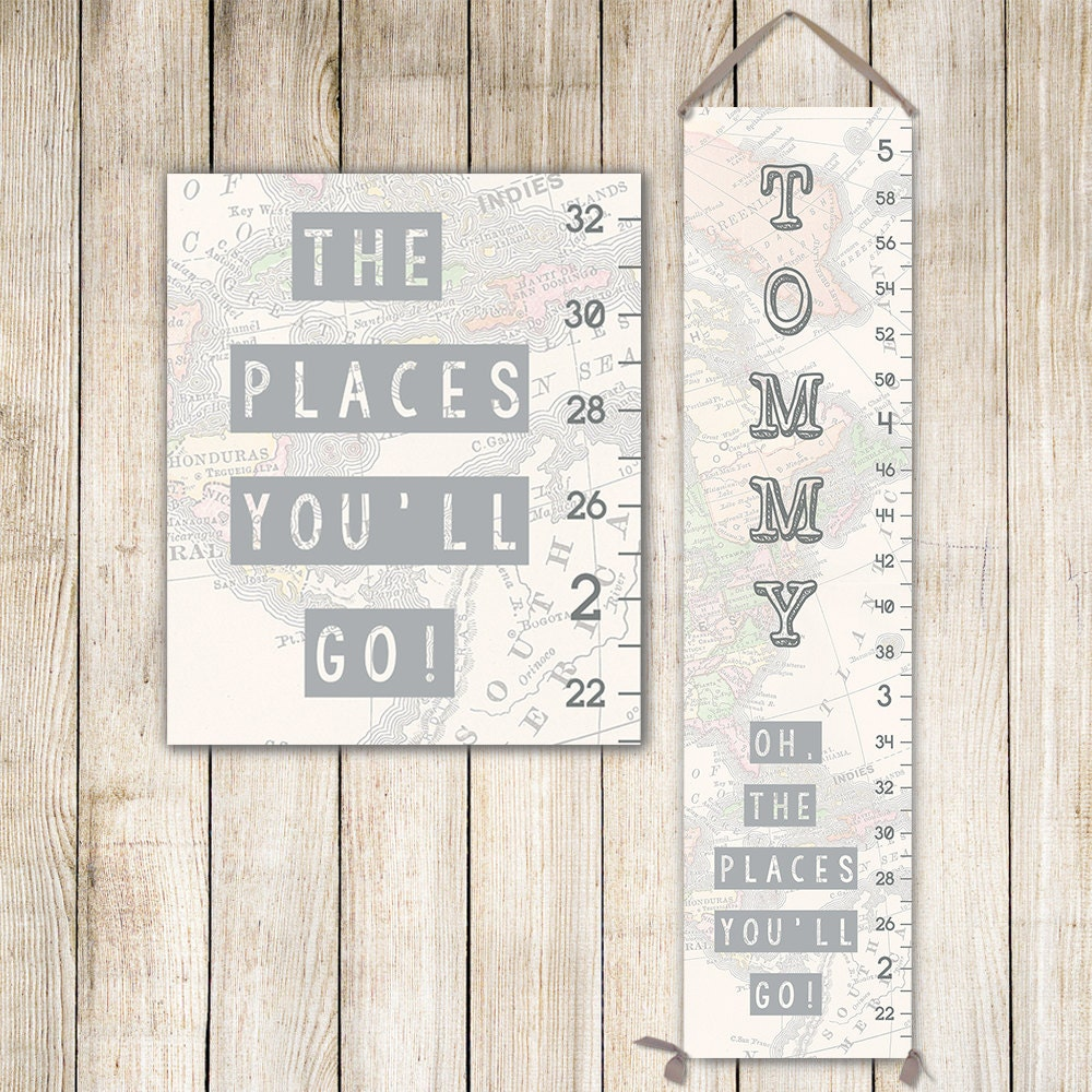 Oh the places youll go art personalized canvas growth chart jolieprints nvjuhfo Gallery