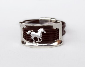 Horse bracelet, Women leather bracelet and silver half bracelet cuff, equestrian bracelet, magnet clasp, genuine leather, Equestrian Jewelry