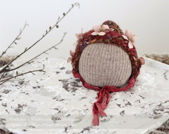 Newborn Baby Girl Hat. Infant Hat. Flower Bonnet. Crochet Pixie Hat with Silk Sari Ties. Newborn Ready to Ship Photography Prop. UK Seller.