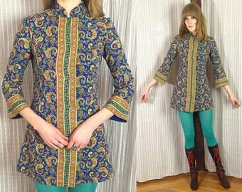 Vtg 60s Paisley Psych Nehru Collar Dress S