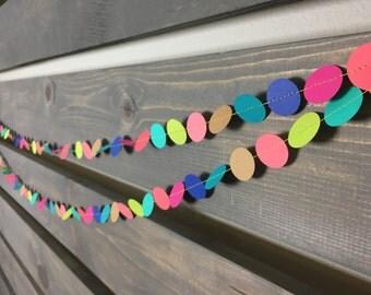 Bright & Bold Circle Garland || Kids Party Garland || Birthday Party Decoration || Confetti Garland || Party Decoration || Neon Birthday