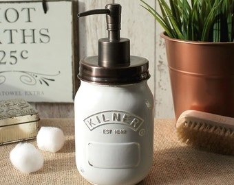 Rustic | Country Style Kilner Jar Soap Dispenser in Distressed White finish with Rust proof Antique Bronze Lid and Pump - *UK Seller*