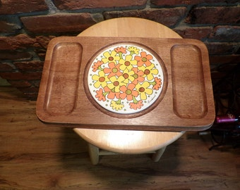 Retro Cheese Board, Goodwood Cheese board, wood and tile cheese board, 1960's prop