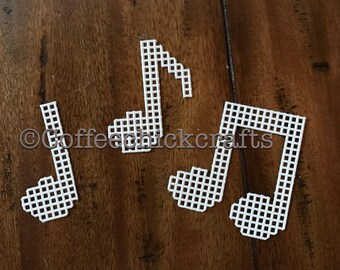 Set of 3 Plastic Canvas Music Notes Cut Outs Plastic Canvas for Needlepoint