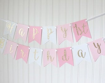 Gold, Pink, White, Ombre, Happy Birthday Banner/ Girl Birthday/ Princess Party/ Party Decorations/ Custom Name/ Personalized