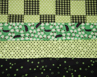 4 FQ Bundle –Lime GREEN & BLACK Geo Prints 100% Cotton Quilt Fabric Fat Quarter