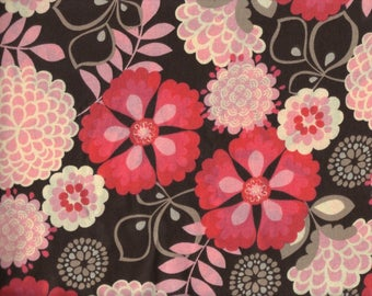 BTY PINK FLORAL on Gray Print 100% Cotton Quilt Crafting Fabric by the Yard