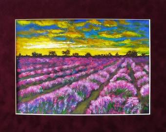 ORIGINAL  Painting, Landscape painting, Lavender painting, Colorful landscape, Lavender field, 9 x 12