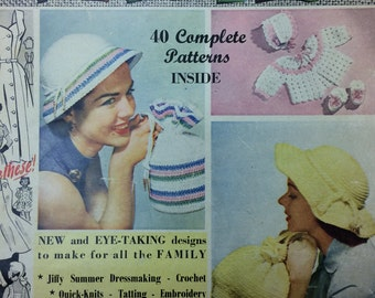 Vintage knitting sewing crochet patterns magazine Pins and Needles No.22 1950's