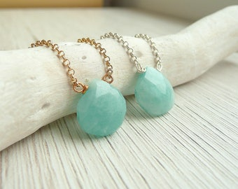 Amazonite Necklace Sterling Silver, Turquoise Stone Necklace, Bridesmaid Necklace, Wire Wrapped Necklace, 925 Silver Jewelry