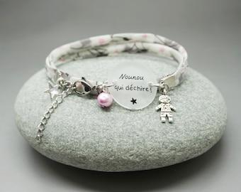 """bracelet liberty cabochon """"Nounou qui déchire"""" personnalisable"""