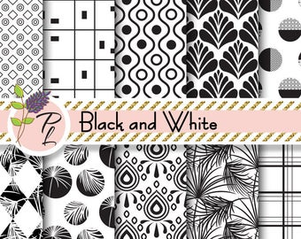 Black and White digital paper. Monochrome scandinavian modern seamless backgrounds. Palm leaves, geometric, damask, abstract circle pattern.