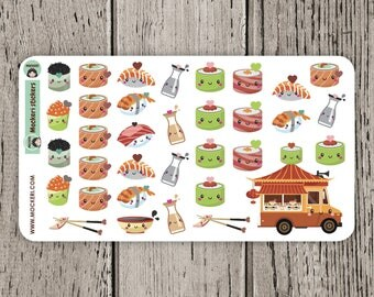 34 Sushi Stickers / Planner Stickers / Decorative Stickers