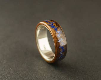 Santos rosewood bentwood ring, rosewood ring lined with sterling silver and crushed lapis lazuli stone inlay