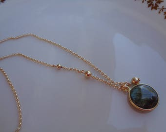 Gold necklace with labradorite pendant, 585 gold filled, double pendant with ball