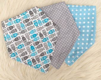 Boys Dribble Bibs, Owl Bib, Baby Bib Set, Toddler Bibs, Baby Gift, Baby Shower, New Baby, UK