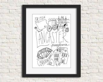 Lancaster, Pennsylvania Handlettered Black and White Wall Art Print 8 x 10 in