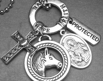 Horses & Equestrians Patron Saint Ann Catholic Holy Medal and Charm Necklace, Catholic Gift, Catholic Jewelry