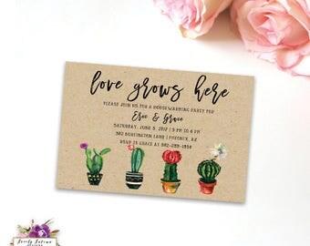 Housewarming Invitation - Cactus Succulents Watercolor Floral - Kraft -Love Grows Here - Digital Printable Invitation BEST SELLER