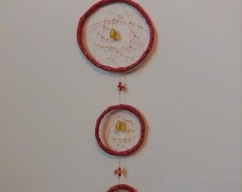 Triple hoop orange dreamcatcher