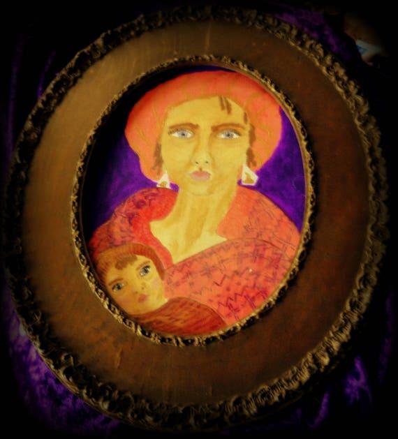 "Framed Ink Painting ""Tender and Mild"" Ethnic Folk Art, Blue Green Eyes Mother Child Black Madonna Portrait, African American Art"