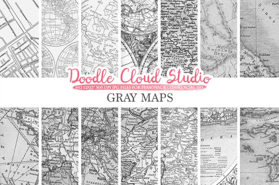 Gray maps digital paper vintage old world map city nautical il570xn gumiabroncs Image collections